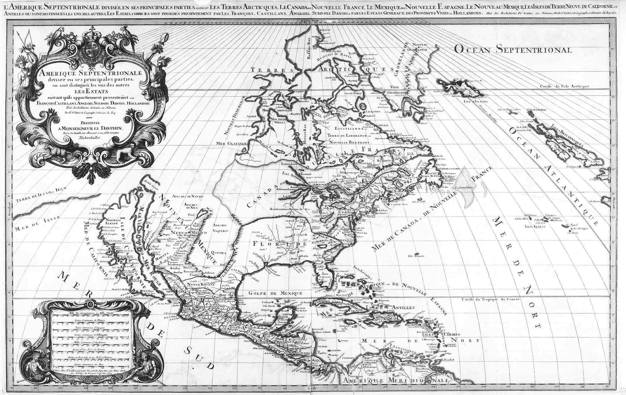 1692 Amerique Septentrionale Divisee En Ses Prinles Parties