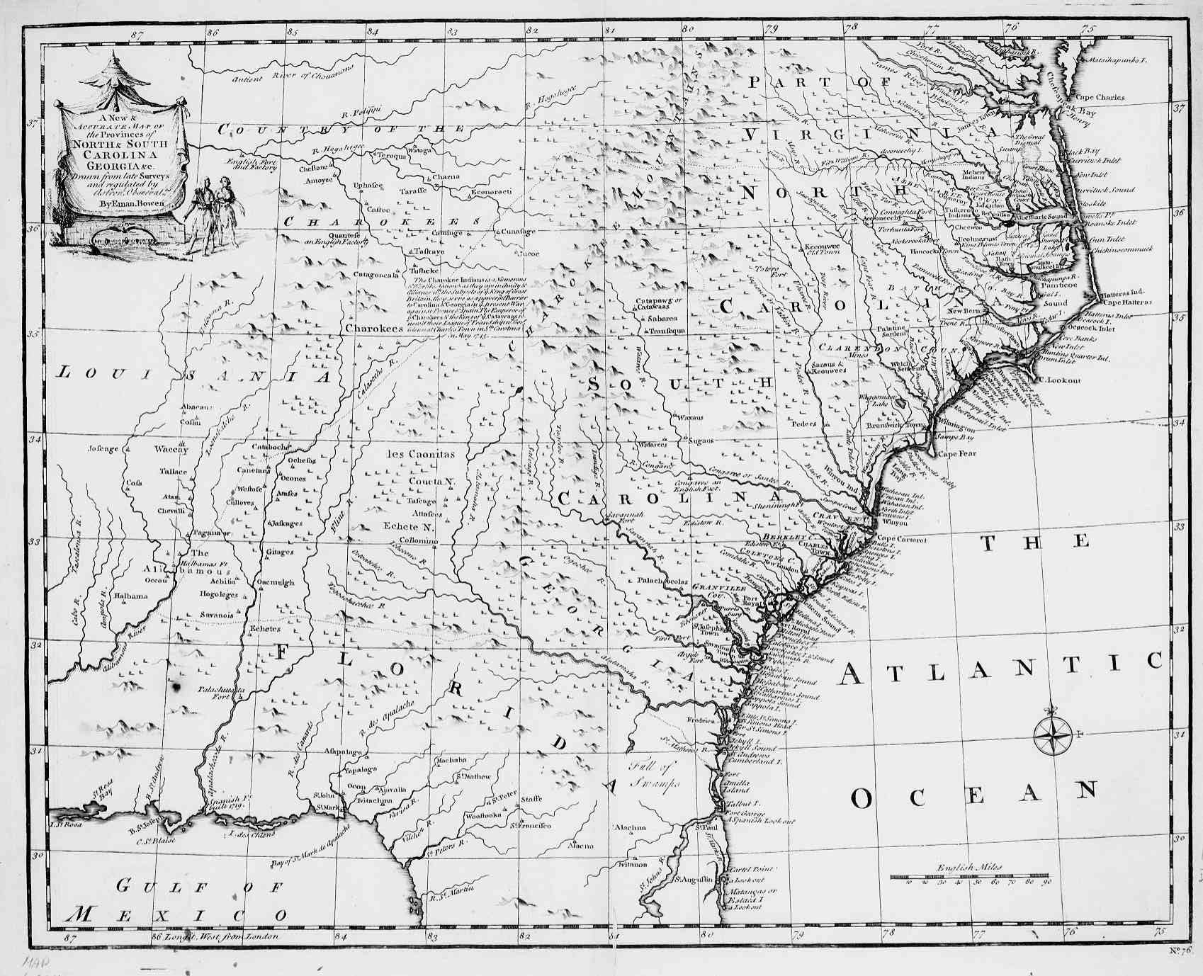 Hargrett Rare Library Map Collection Colonial America - Map of the carolinas usa