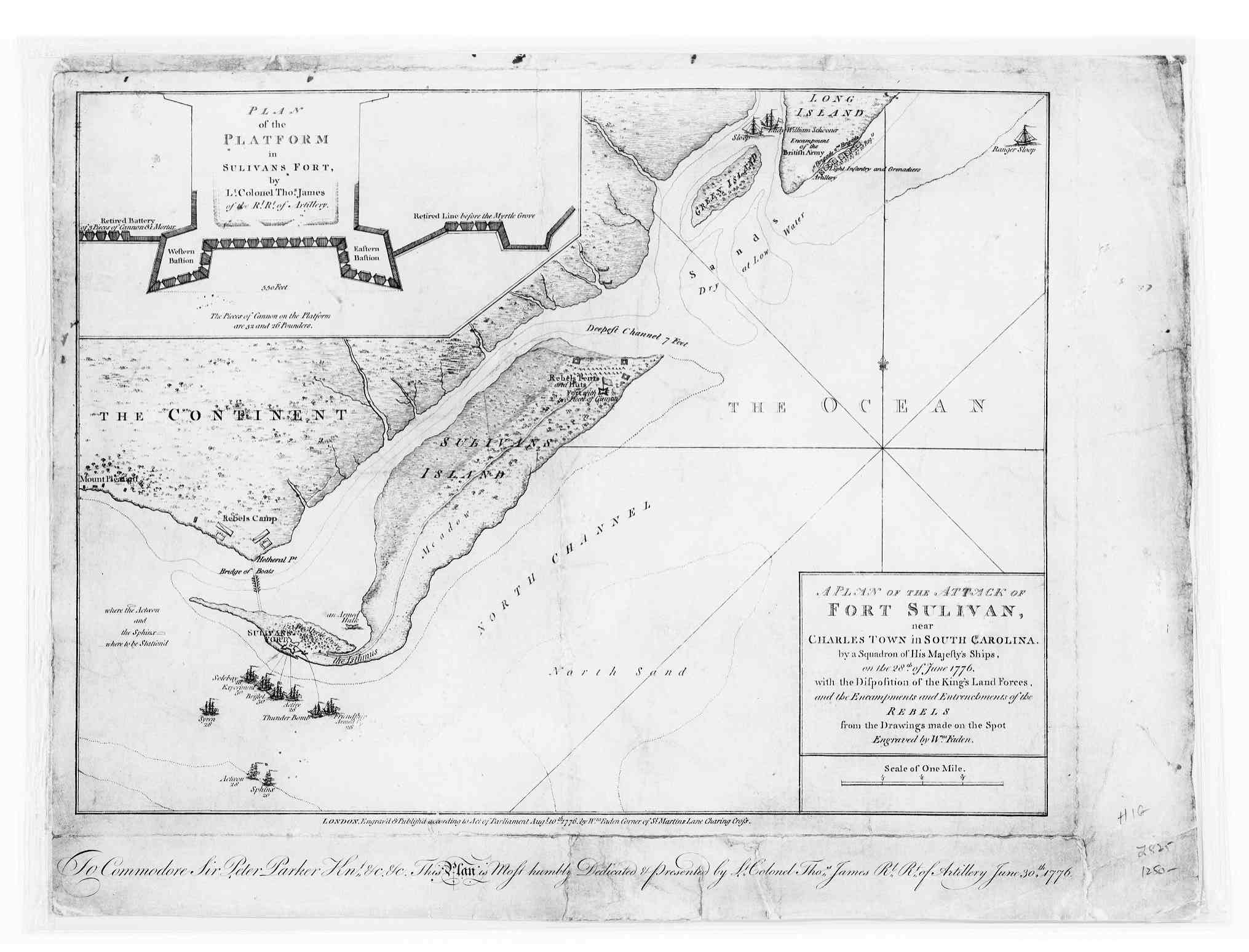 index to american revolution 1776 a plan of the attack of fort sulivan near charles town in south carolina