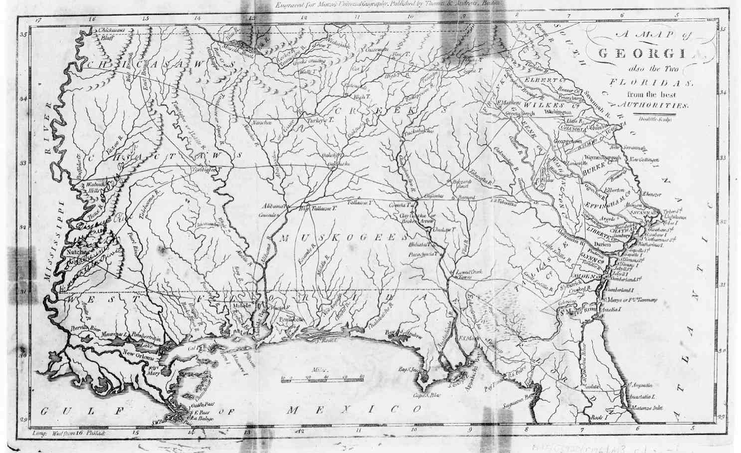 Hargrett Library Rare Map Collection Frontier To New South - Georgia map 1733