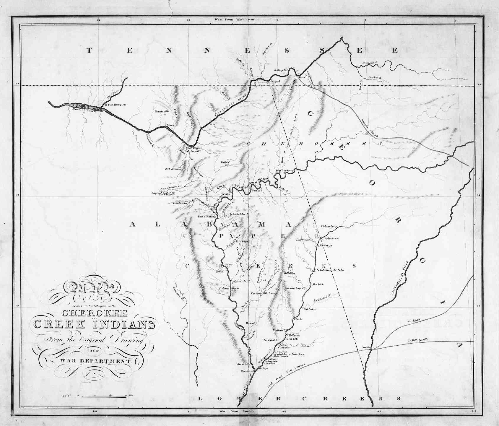 1815 Map Of Creek And Cherokee Lands