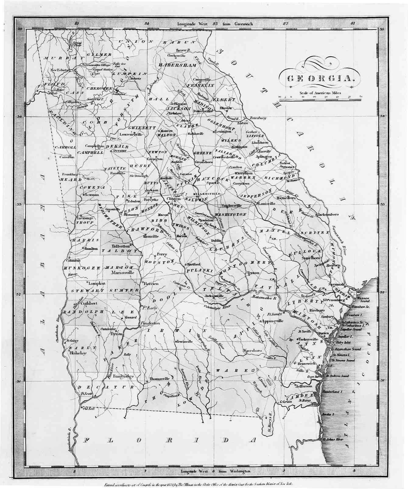 Map Of Georgia 1830.Forsyth County Maps