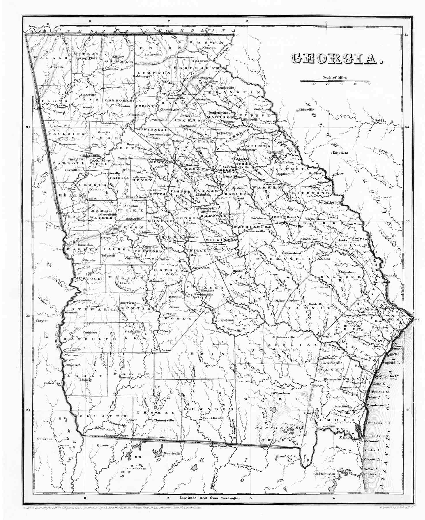 Hargrett Library Rare Map Collection Frontier To New South - Georgia map state