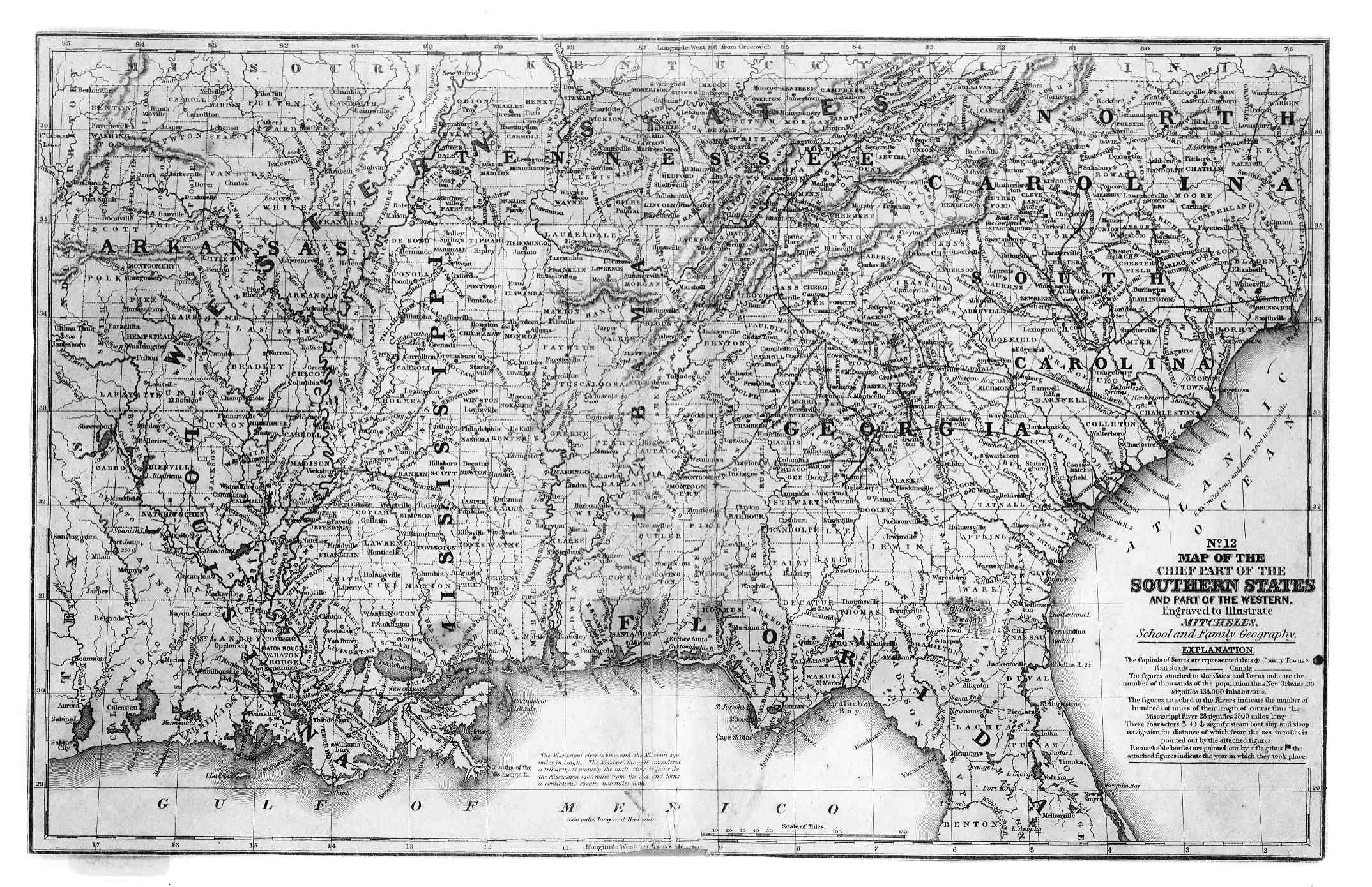 1839 Map Of The Chief Part Of The Southern States And Part Of The Western