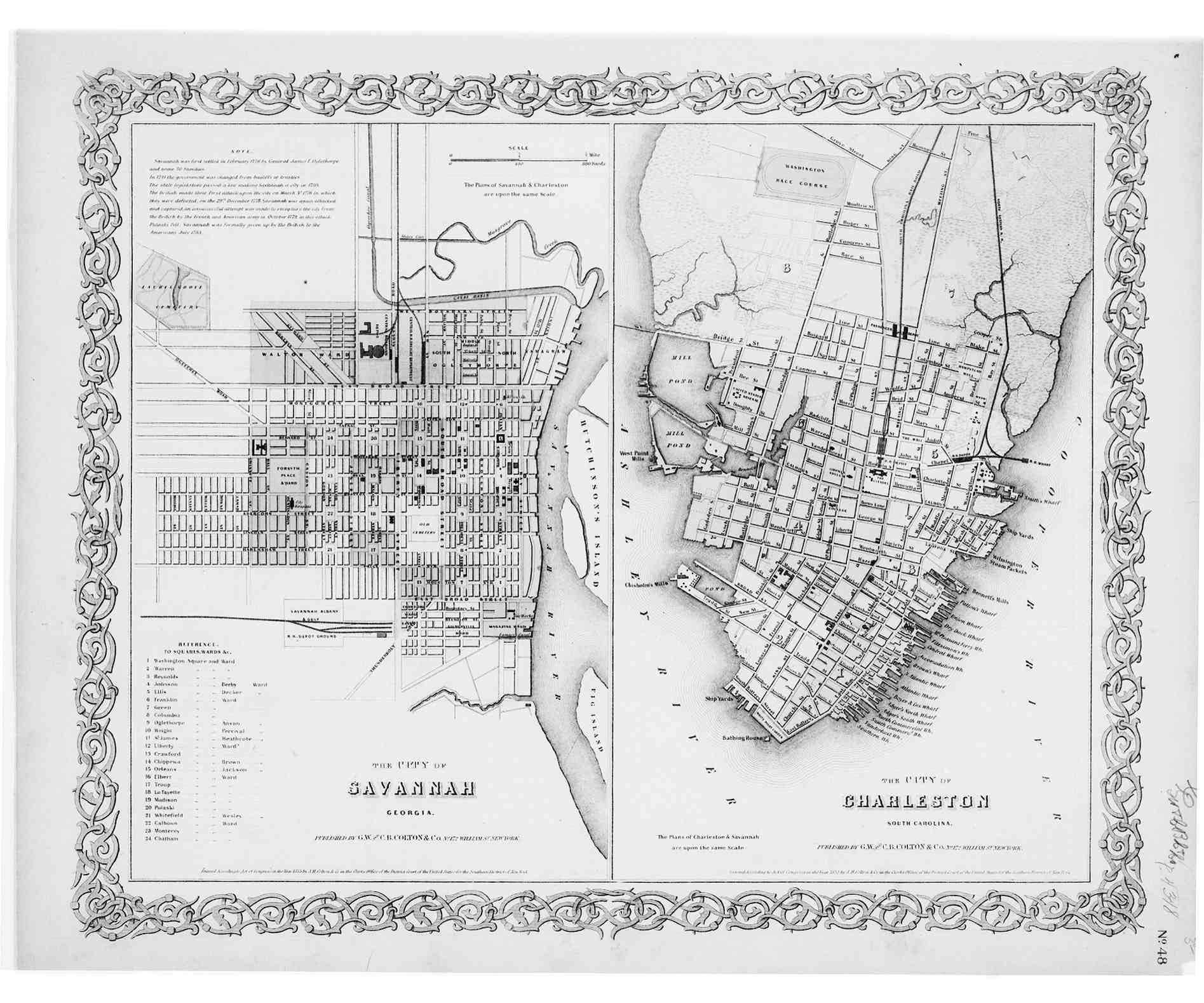Map 1855 S3 The City Of Savannah Georgia And Charleston South Carolina