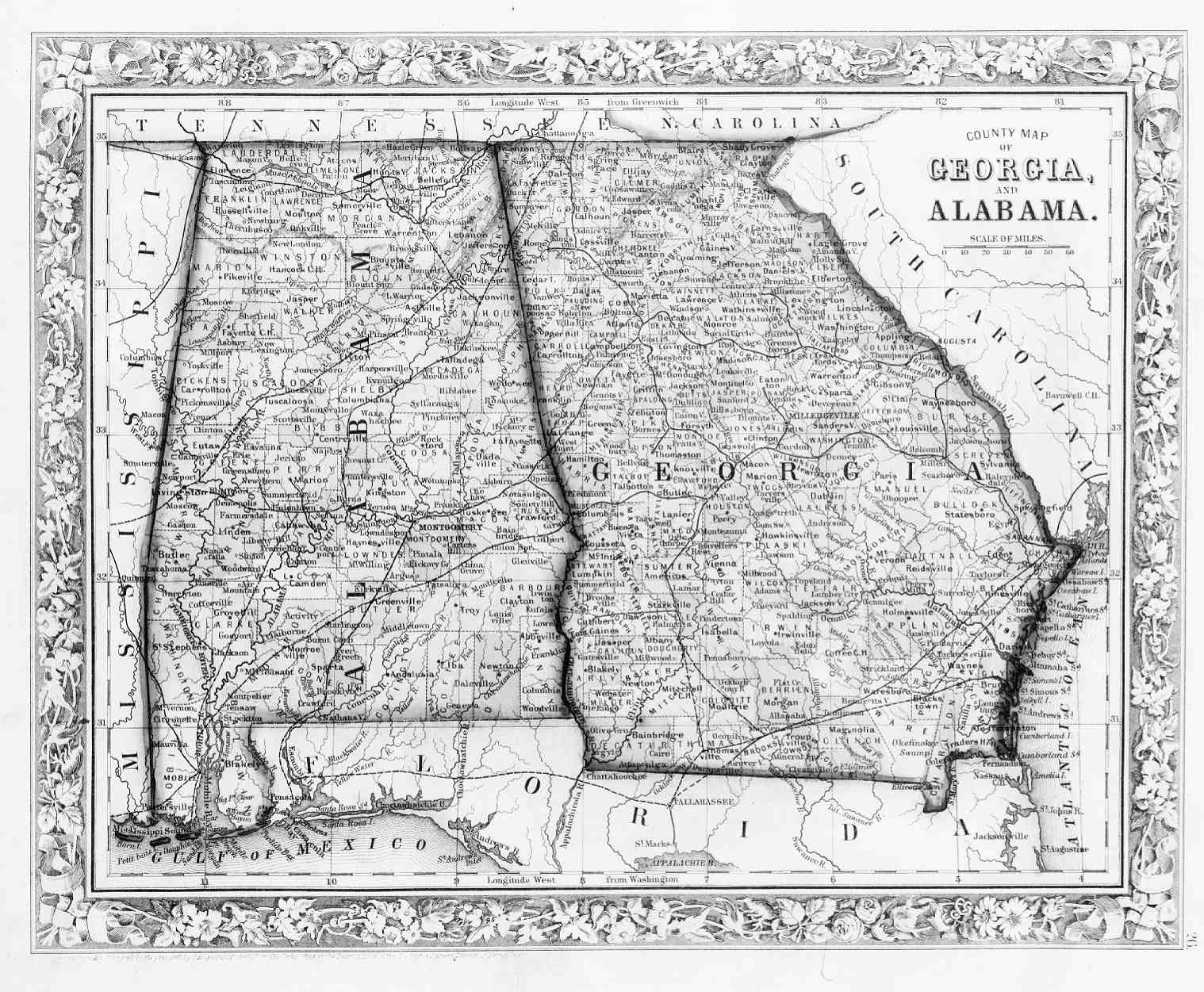 Alabama State Map By County.Hargrett Library Rare Map Collection Frontier To New South