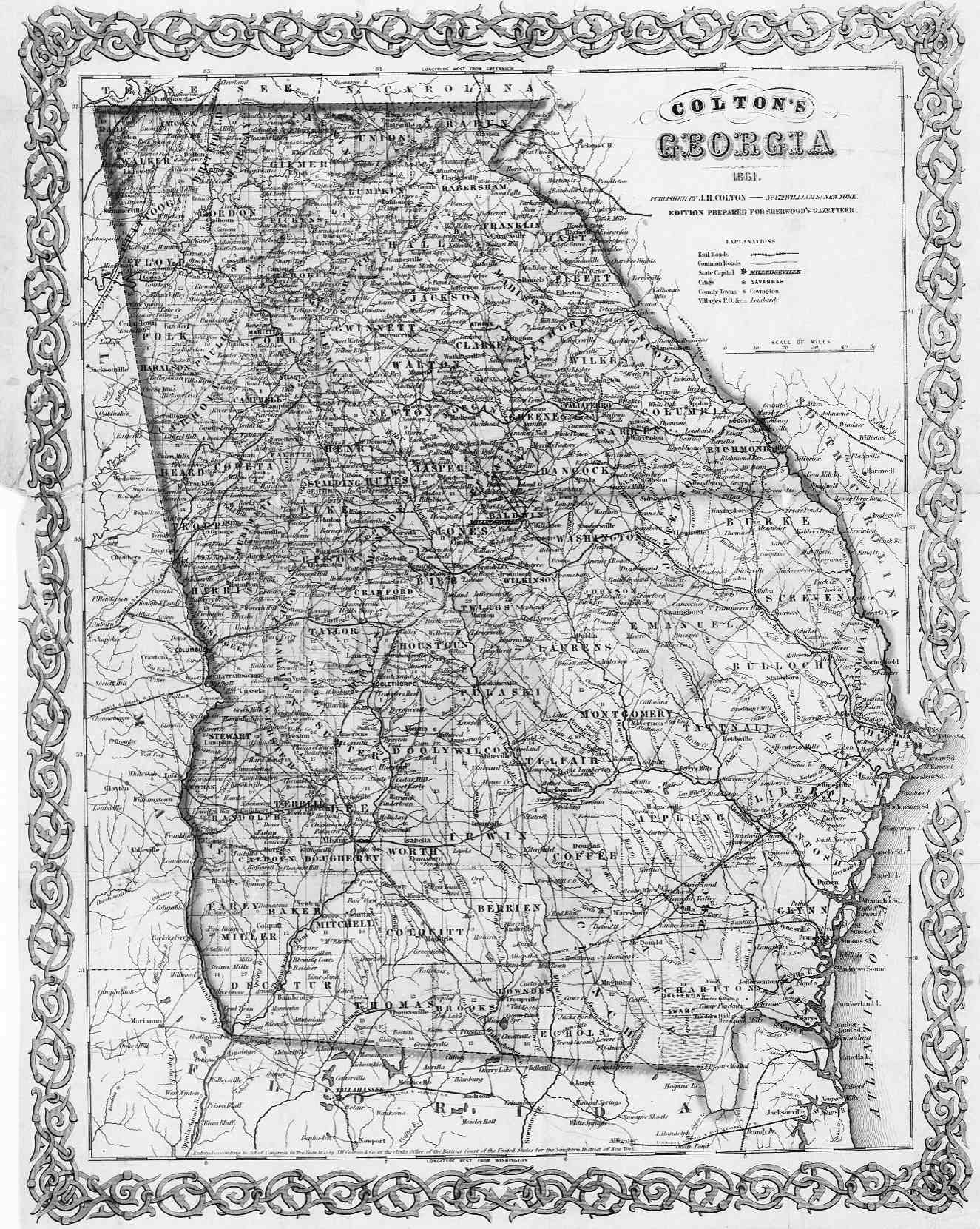GA Historical County Lines - Georgia gold map