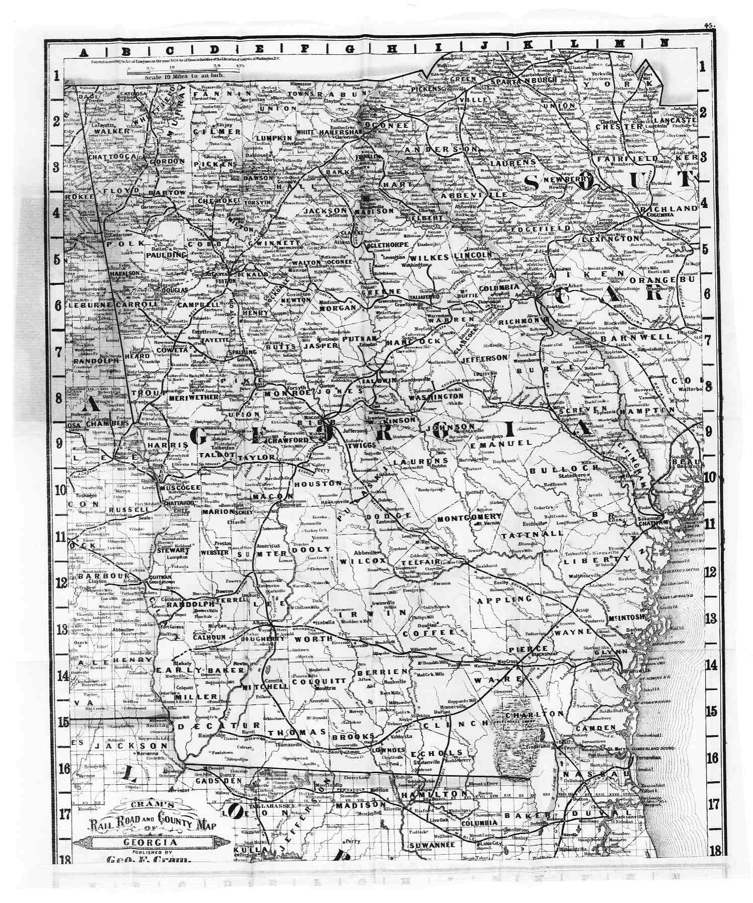 Hargrett Library Rare Map Collection Transportation - Georgia map with county lines