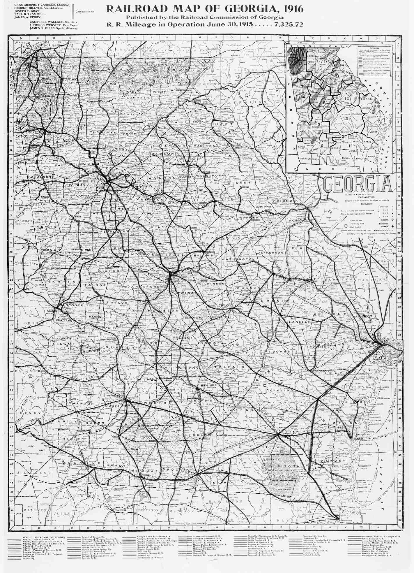 Railroad Map Of Georgia.Hargrett Library Rare Map Collection Transportation