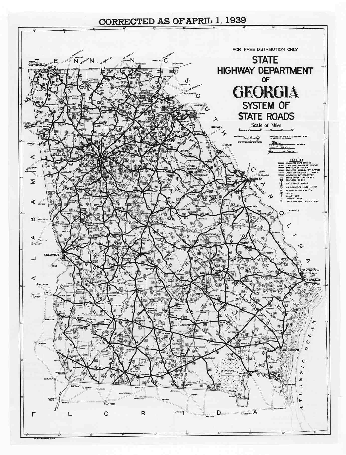 Hargrett Library Rare Map Collection Transportation - Us highway map of georgia