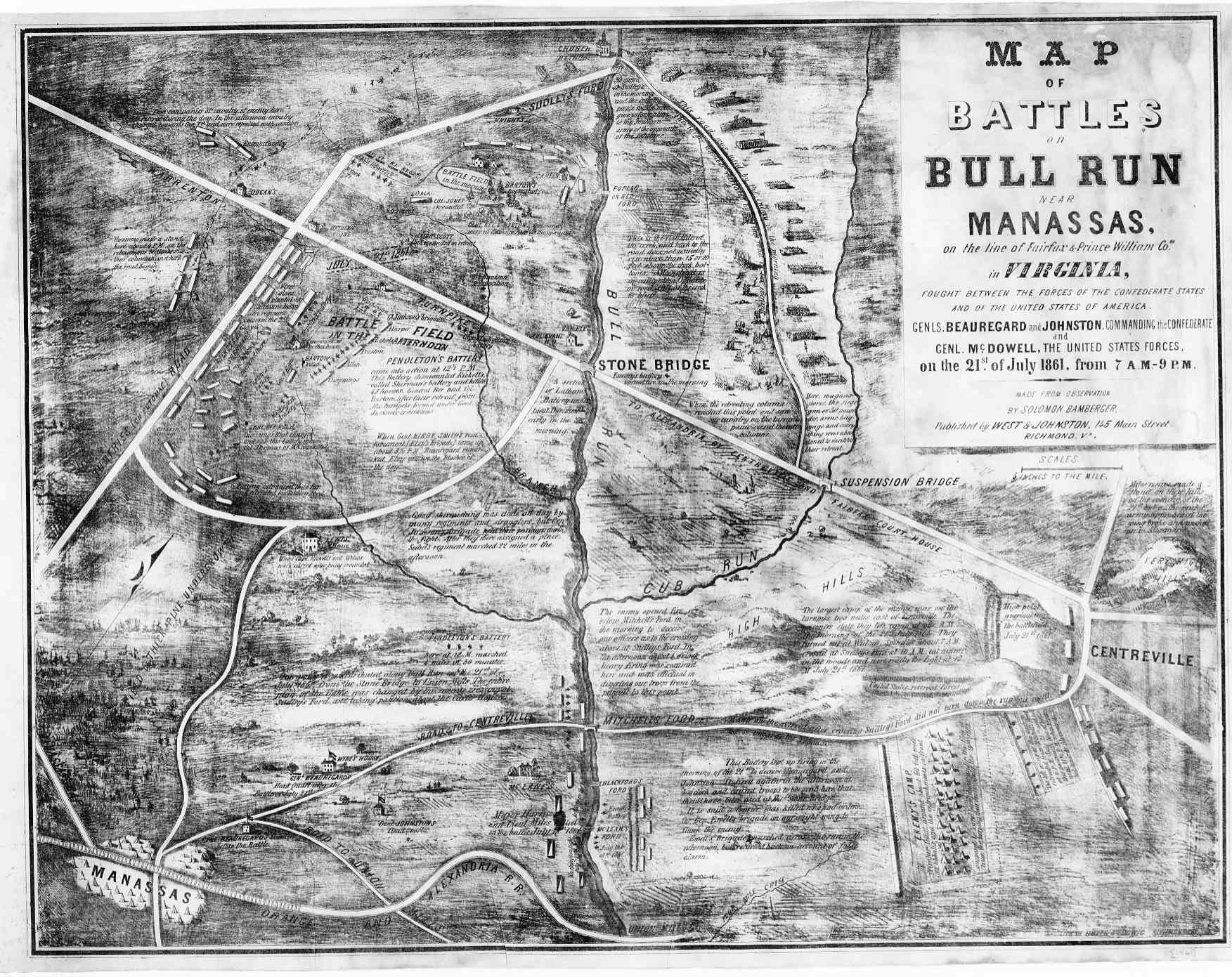 Map of battles on Bull Run near Manassas Bamberger 1861