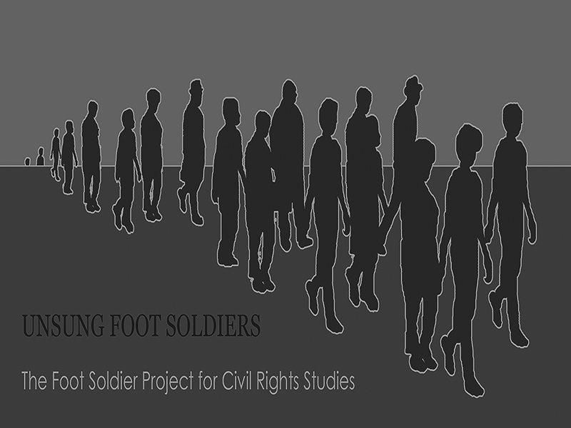 Logo image of Foot Soldier Project with people in silhouette walking