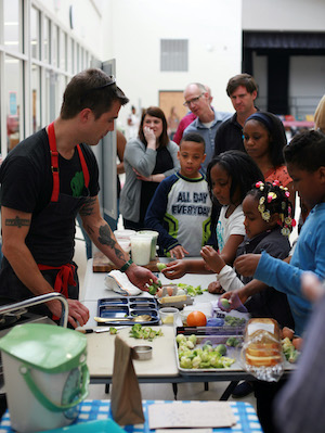 Hugh Acheson, chef and restaurant owner, participating in the School Lunch Challenge