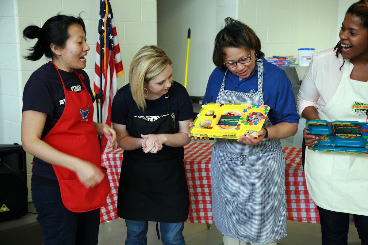 Clarke County student judges determine the School Lunch Challenge champion.