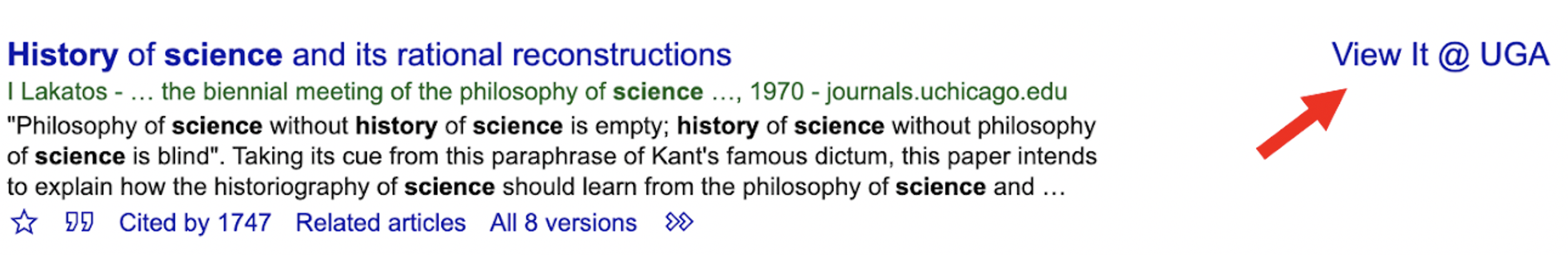 An arrow points at a VIEW IT @ UGA link in the margin of Google Scholar results. Another arrow points at the >> icon under a book citation in Google Scholar.