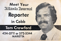 Promotional image for an open meeting Crawford held with the public while working for the Atlanta Journal