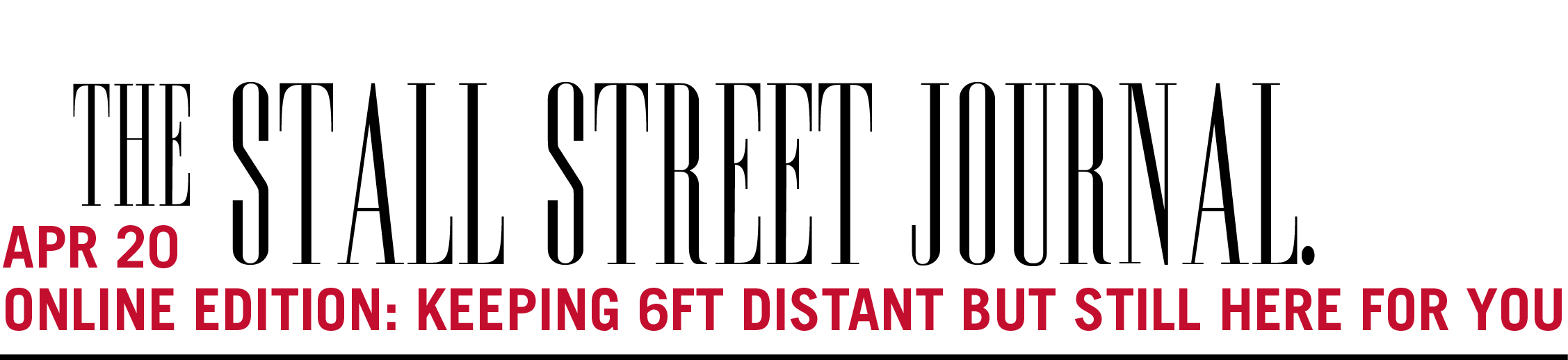 Stylized masthead for publication Stall Street Journal
