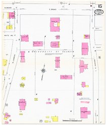 Fire insurance map of UGA from 1913, showing campus buildings at the time.