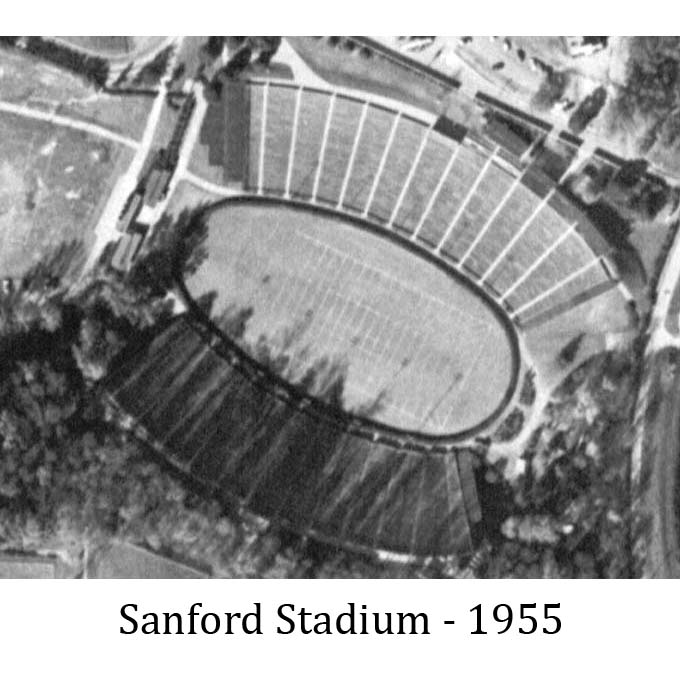 Aerial photograph of UGA's Sanford Stadium in 1955.