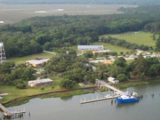 Aerial view of the Skidaway campus, including a body of water