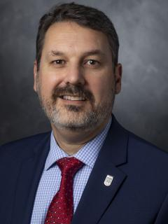 Bearded man wearing a navy suit, with a light blue shirt and a dark red tie. On his lapel is a pin bearing the Libraries logo.