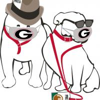 illustration of bulldogs with press credentials