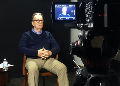 Dr. Phil Parkerson sitting for an interview in the Bob Short Oral History Studio in November 2019.