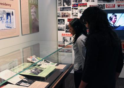Students viewing R. Harold Harrison Gallery
